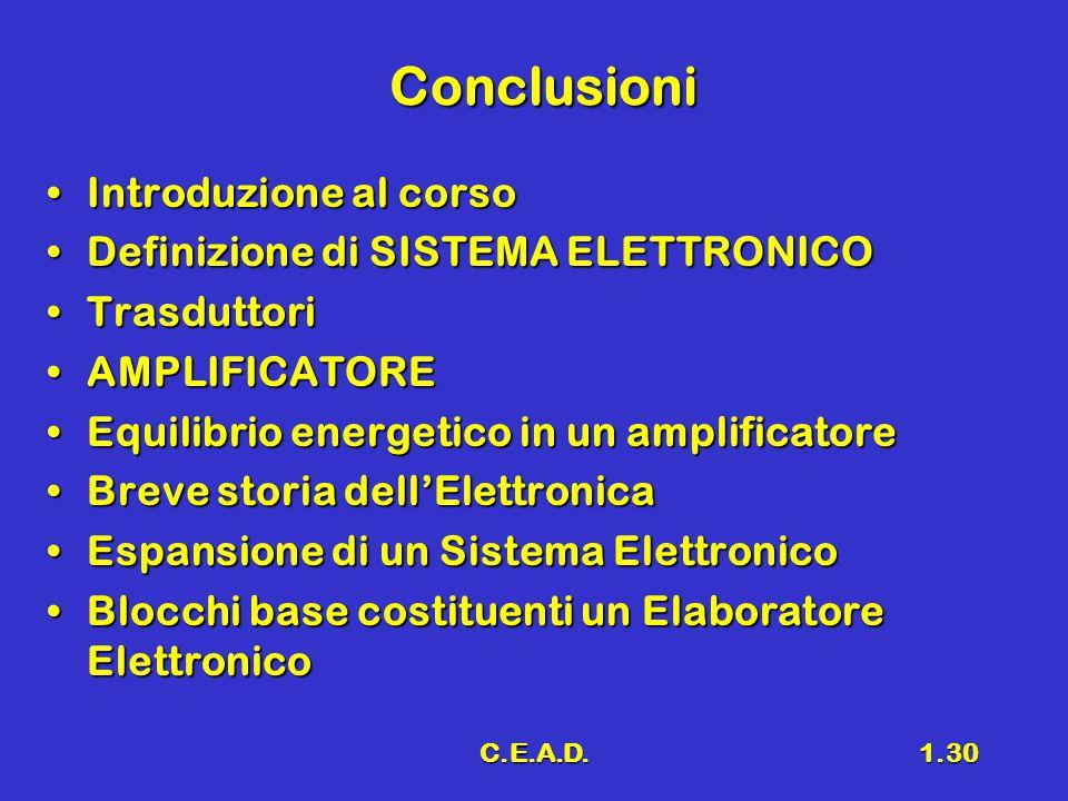 Conclusioni Introduzione al corso Definizione di SISTEMA ELETTRONICO