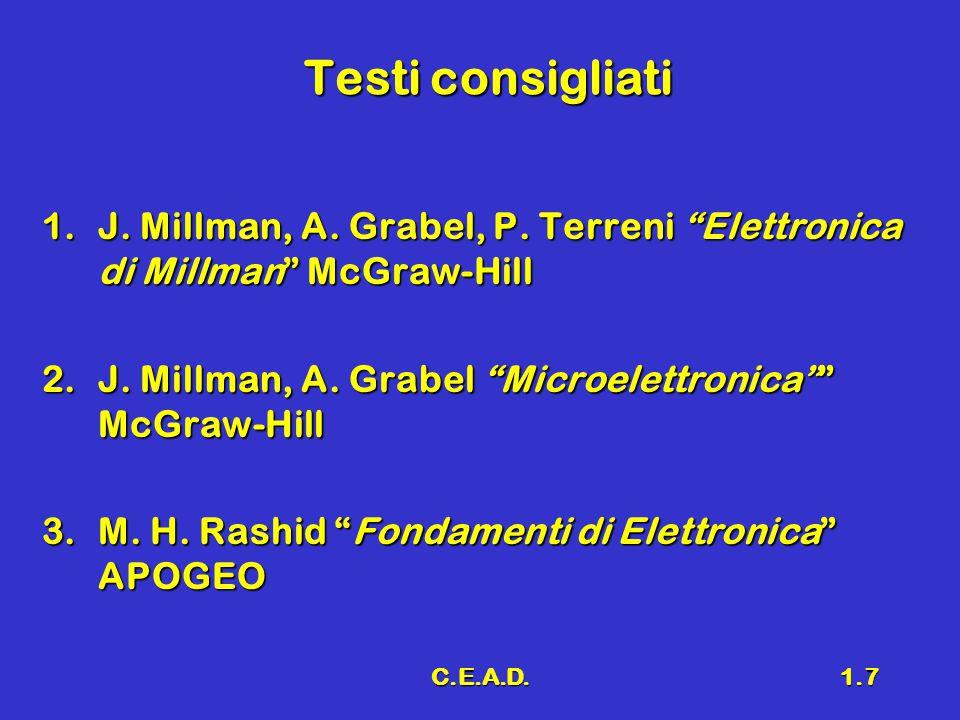 Testi consigliati J. Millman, A. Grabel, P. Terreni Elettronica di Millman McGraw-Hill. J. Millman, A. Grabel Microelettronica McGraw-Hill.