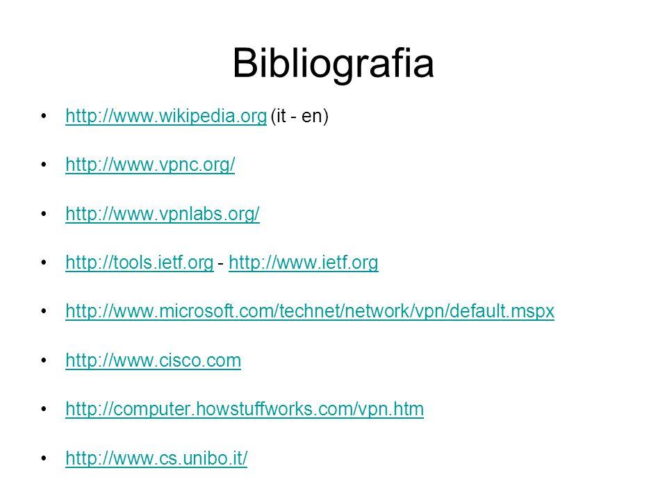 Bibliografia http://www.wikipedia.org (it - en) http://www.vpnc.org/