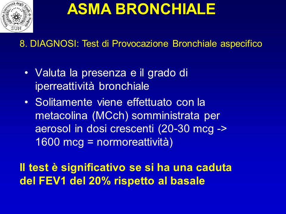 ASMA BRONCHIALE 8. DIAGNOSI: Test di Provocazione Bronchiale aspecifico. Valuta la presenza e il grado di iperreattività bronchiale.