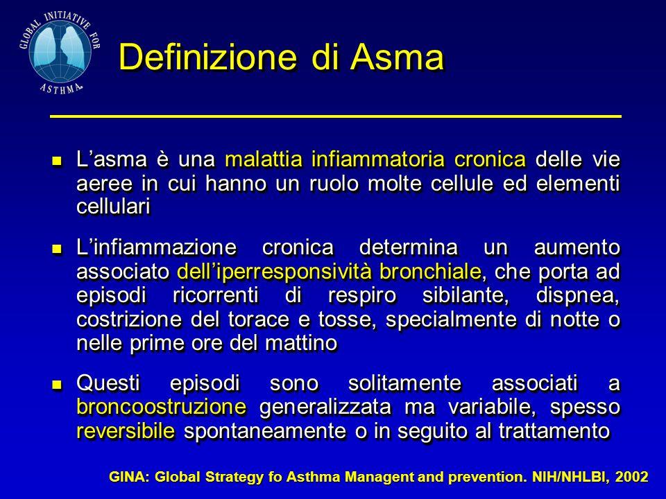 Definizione di Asma L'asma è una malattia infiammatoria cronica delle vie aeree in cui hanno un ruolo molte cellule ed elementi cellulari.