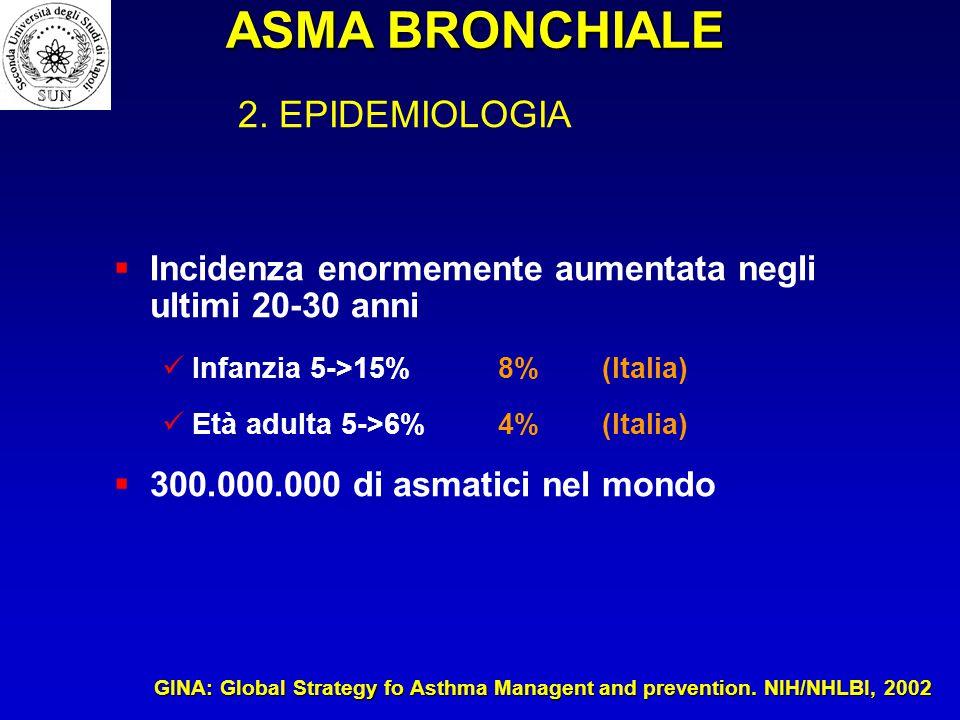 ASMA BRONCHIALE 2. EPIDEMIOLOGIA