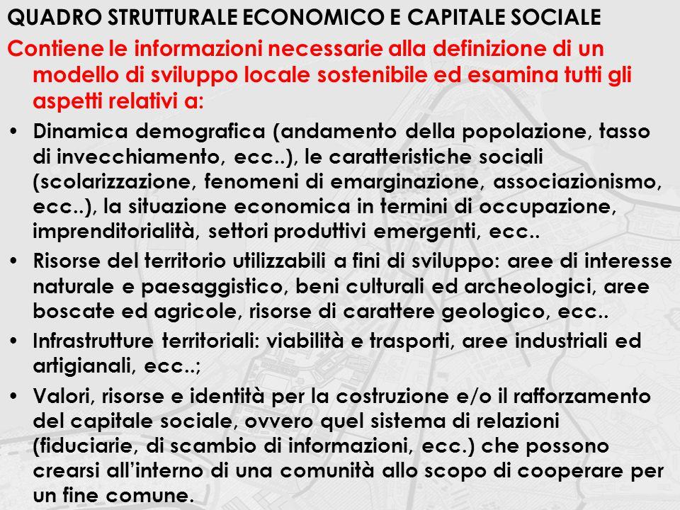 QUADRO STRUTTURALE ECONOMICO E CAPITALE SOCIALE