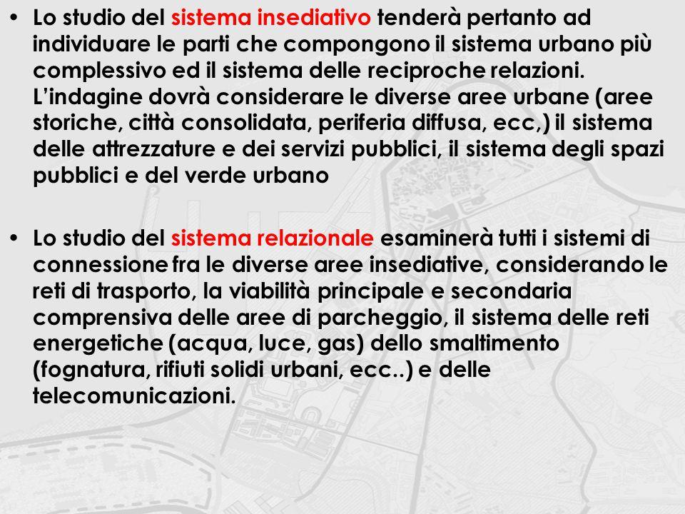 Lo studio del sistema insediativo tenderà pertanto ad individuare le parti che compongono il sistema urbano più complessivo ed il sistema delle reciproche relazioni. L'indagine dovrà considerare le diverse aree urbane (aree storiche, città consolidata, periferia diffusa, ecc,) il sistema delle attrezzature e dei servizi pubblici, il sistema degli spazi pubblici e del verde urbano