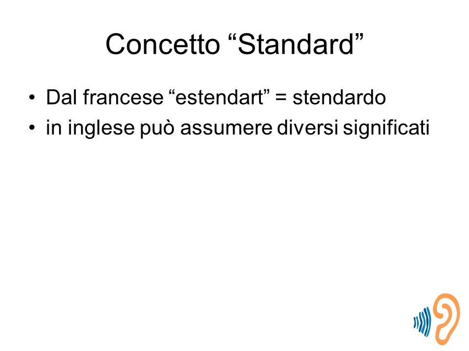 Concetto Standard Dal francese estendart = stendardo