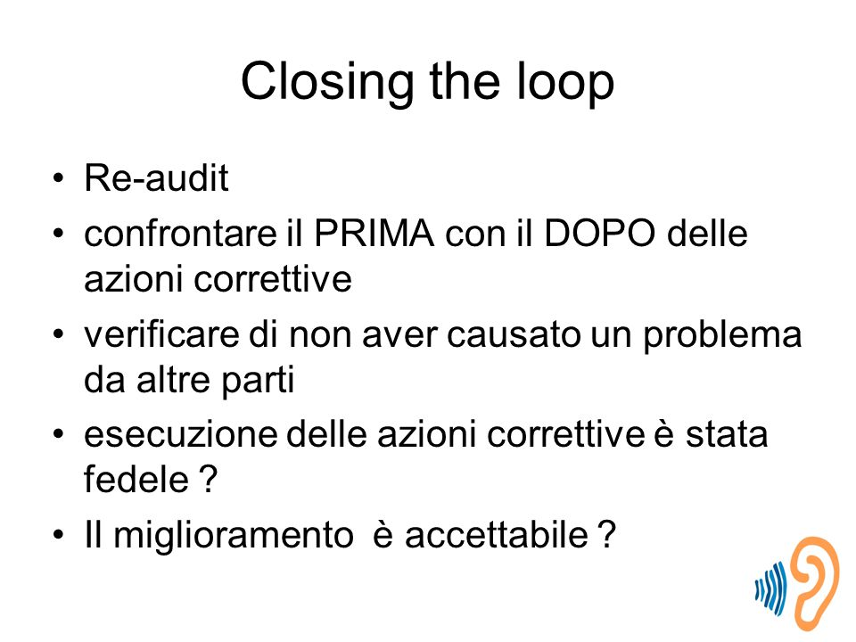 Closing the loop Re-audit