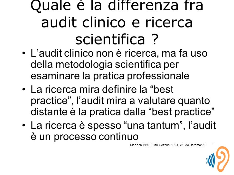 Quale è la differenza fra audit clinico e ricerca scientifica