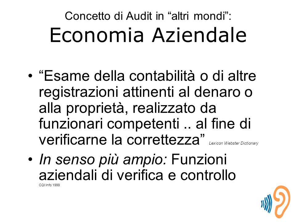Concetto di Audit in altri mondi : Economia Aziendale