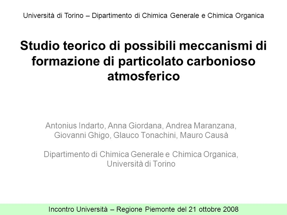 Università di Torino – Dipartimento di Chimica Generale e Chimica Organica