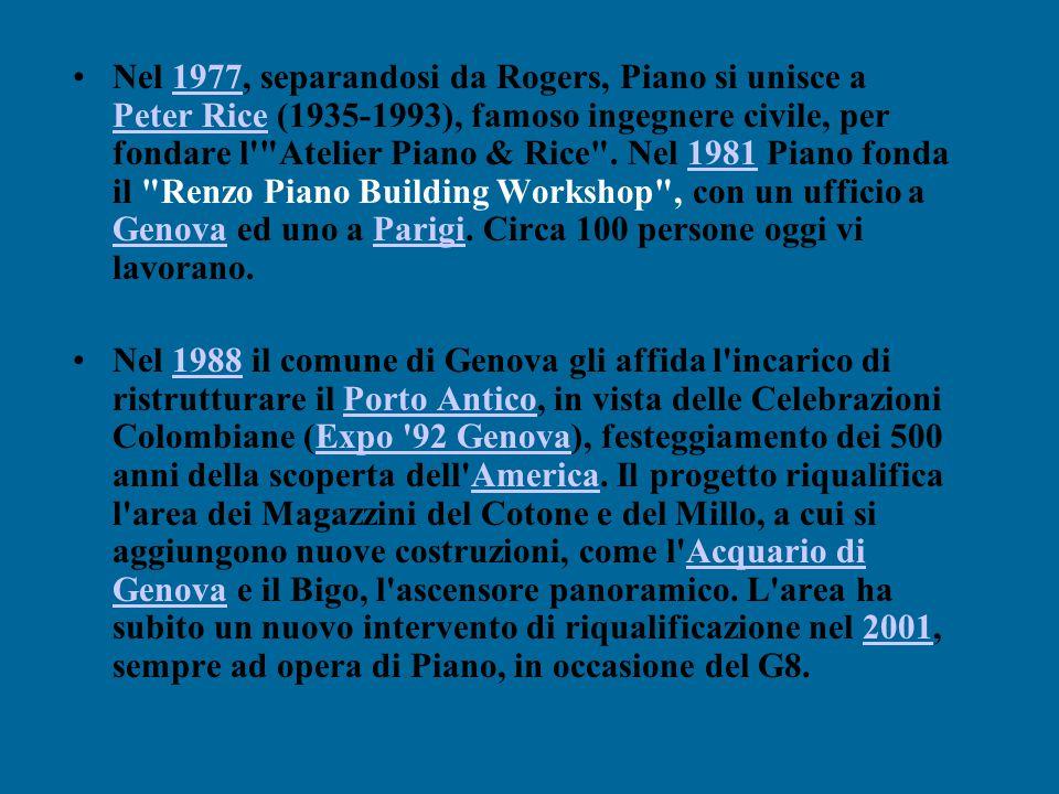 Nel 1977, separandosi da Rogers, Piano si unisce a Peter Rice (1935-1993), famoso ingegnere civile, per fondare l Atelier Piano & Rice . Nel 1981 Piano fonda il Renzo Piano Building Workshop , con un ufficio a Genova ed uno a Parigi. Circa 100 persone oggi vi lavorano.