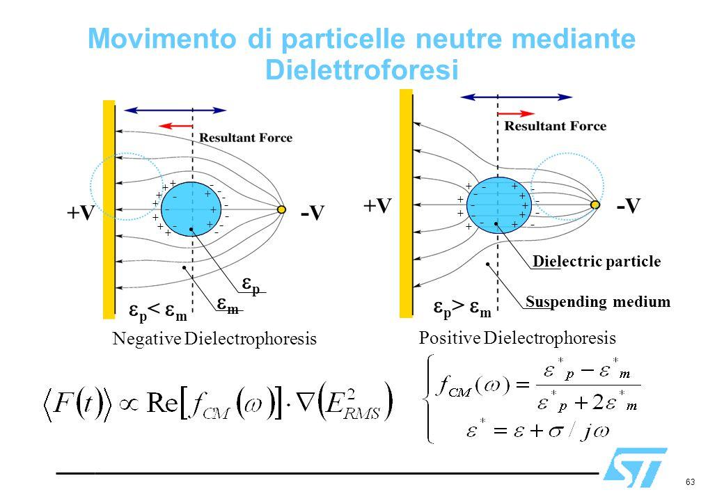 Movimento di particelle neutre mediante Dielettroforesi