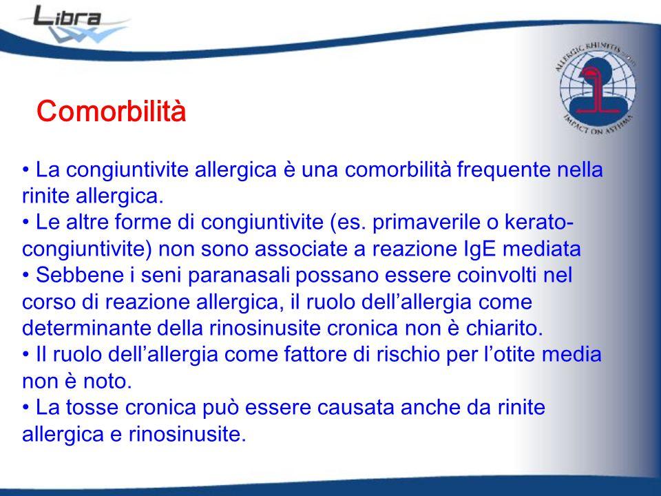 Comorbilità La congiuntivite allergica è una comorbilità frequente nella rinite allergica.