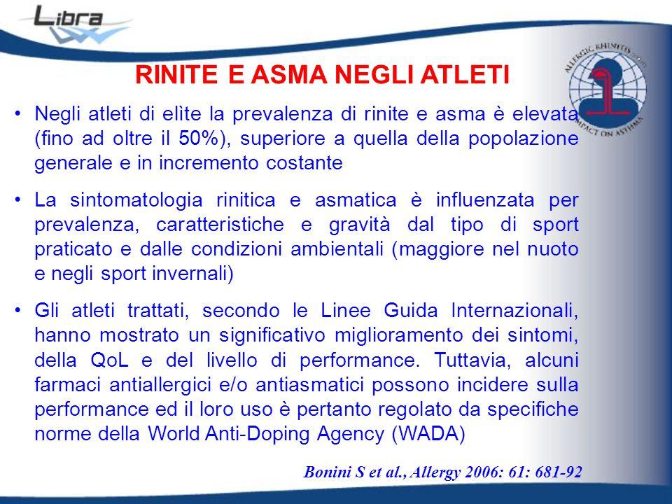 RINITE E ASMA NEGLI ATLETI Bonini S et al., Allergy 2006: 61: 681-92