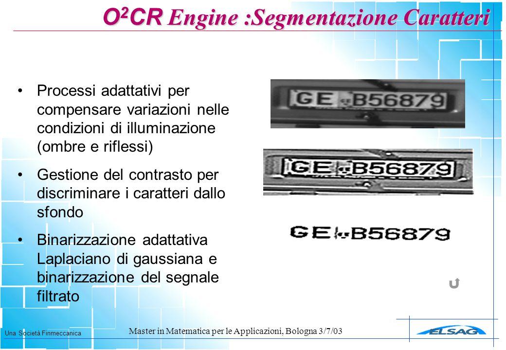 O2CR Engine :Segmentazione Caratteri