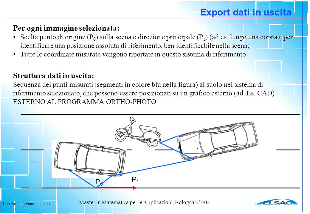 Export dati in uscita Per ogni immagine selezionata: