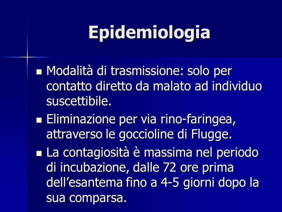 Epidemiologia Modalità di trasmissione: solo per contatto diretto da malato ad individuo suscettibile.