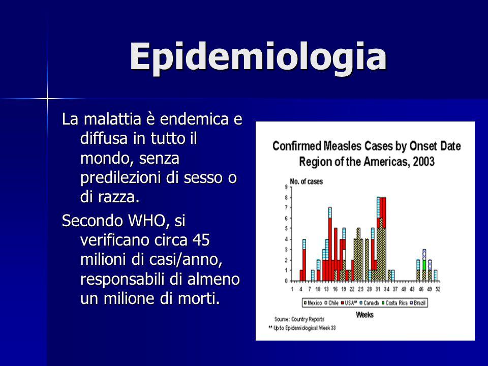 Epidemiologia La malattia è endemica e diffusa in tutto il mondo, senza predilezioni di sesso o di razza.