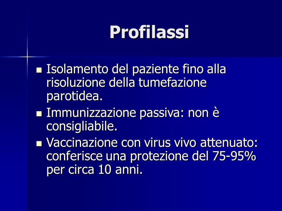 Profilassi Isolamento del paziente fino alla risoluzione della tumefazione parotidea. Immunizzazione passiva: non è consigliabile.