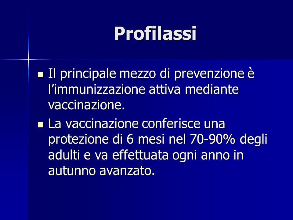 Profilassi Il principale mezzo di prevenzione è l'immunizzazione attiva mediante vaccinazione.