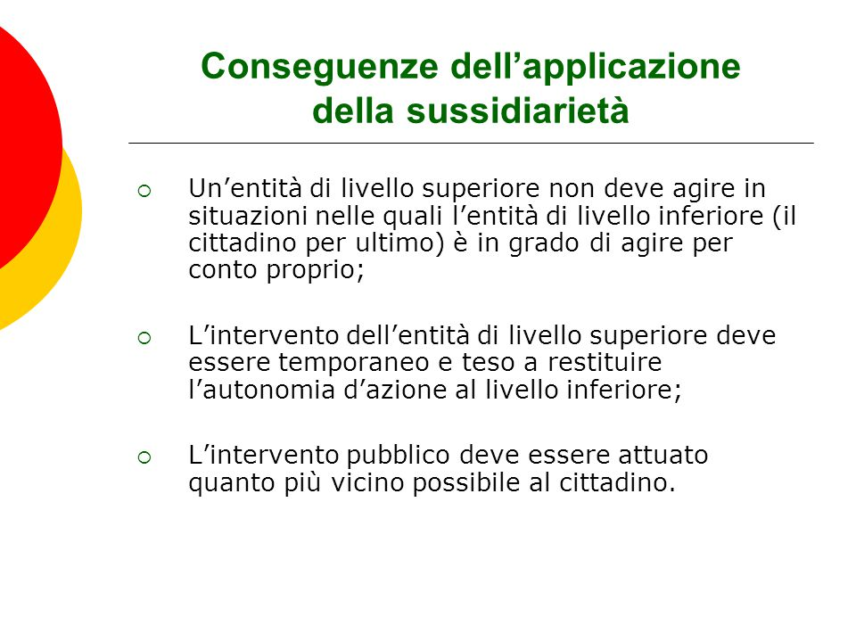 Conseguenze dell'applicazione della sussidiarietà