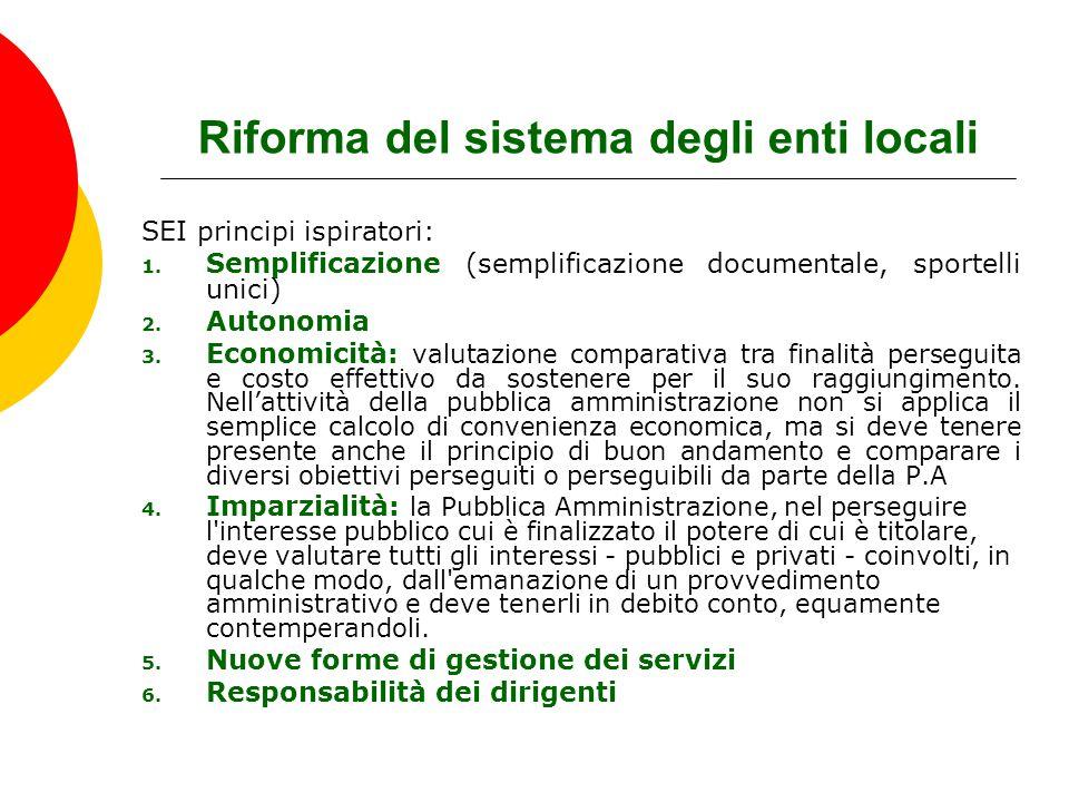 Riforma del sistema degli enti locali