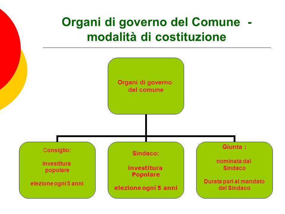 Organi di governo del Comune - modalità di costituzione