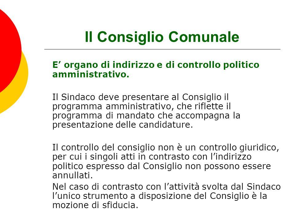 Il Consiglio Comunale E' organo di indirizzo e di controllo politico amministrativo.