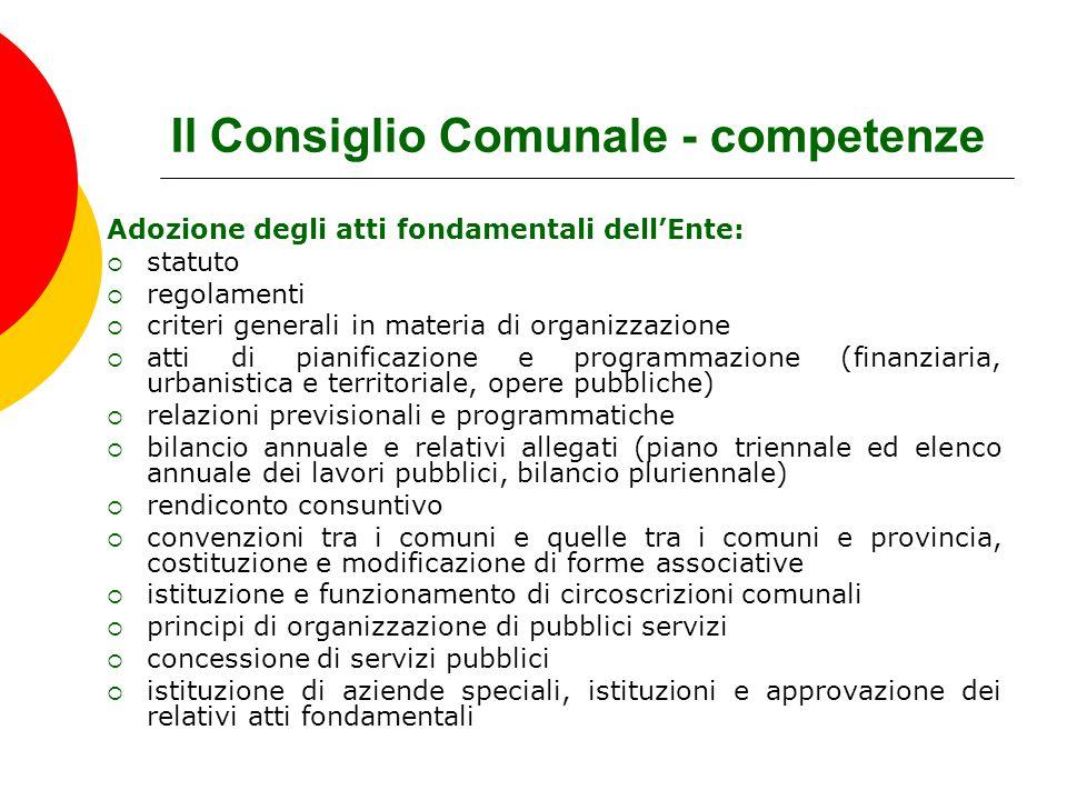 Il Consiglio Comunale - competenze
