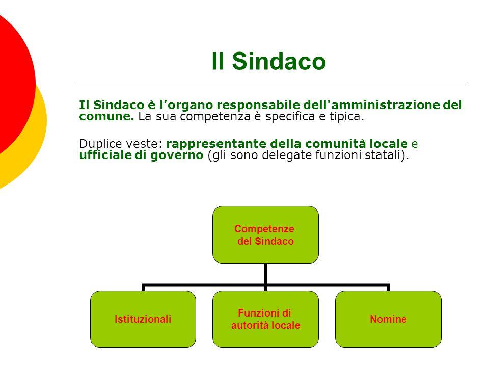 Il Sindaco Il Sindaco è l'organo responsabile dell amministrazione del comune. La sua competenza è specifica e tipica.