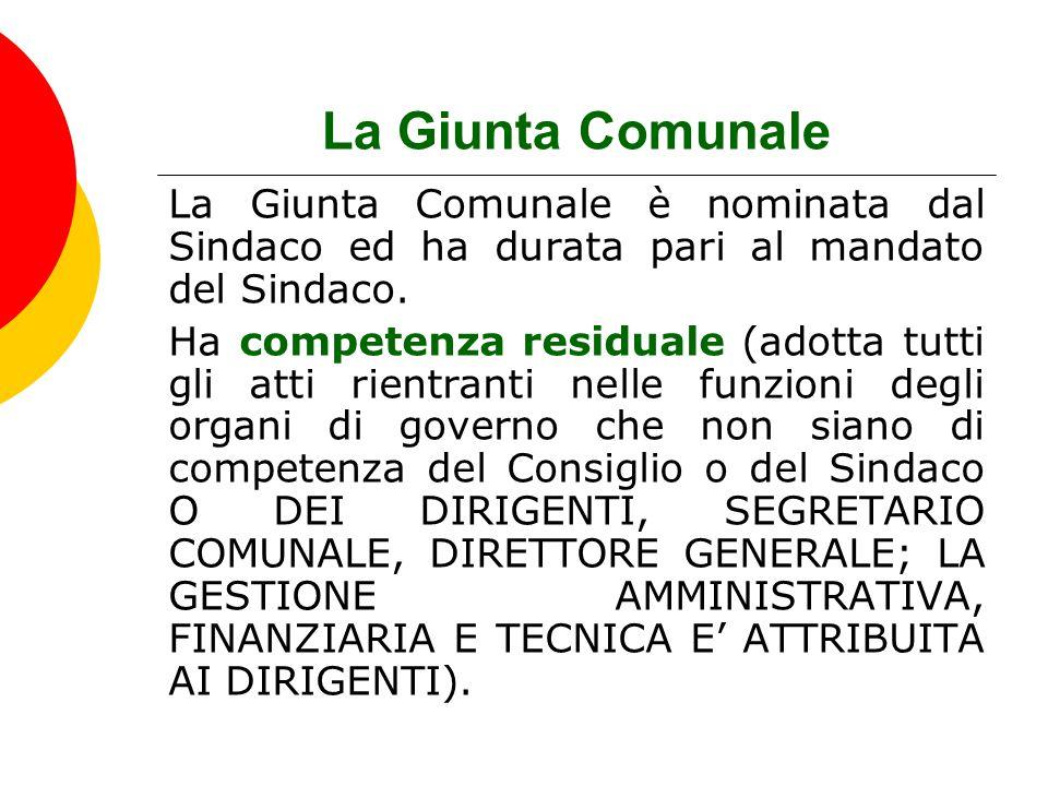 La Giunta Comunale La Giunta Comunale è nominata dal Sindaco ed ha durata pari al mandato del Sindaco.