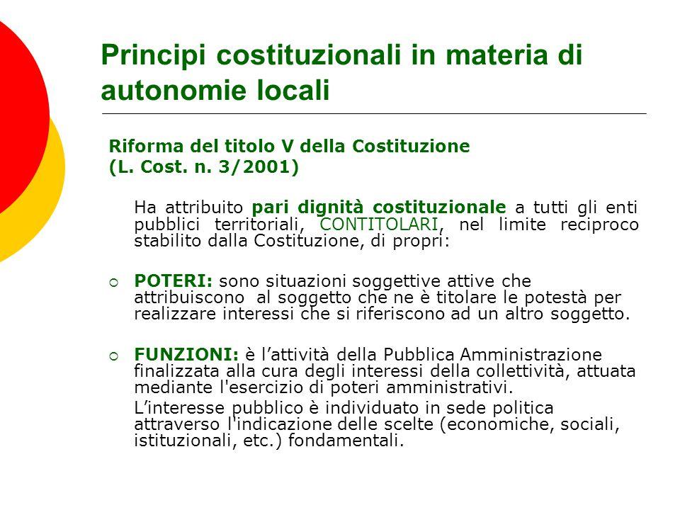 Principi costituzionali in materia di autonomie locali