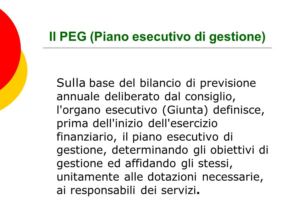 Il PEG (Piano esecutivo di gestione)