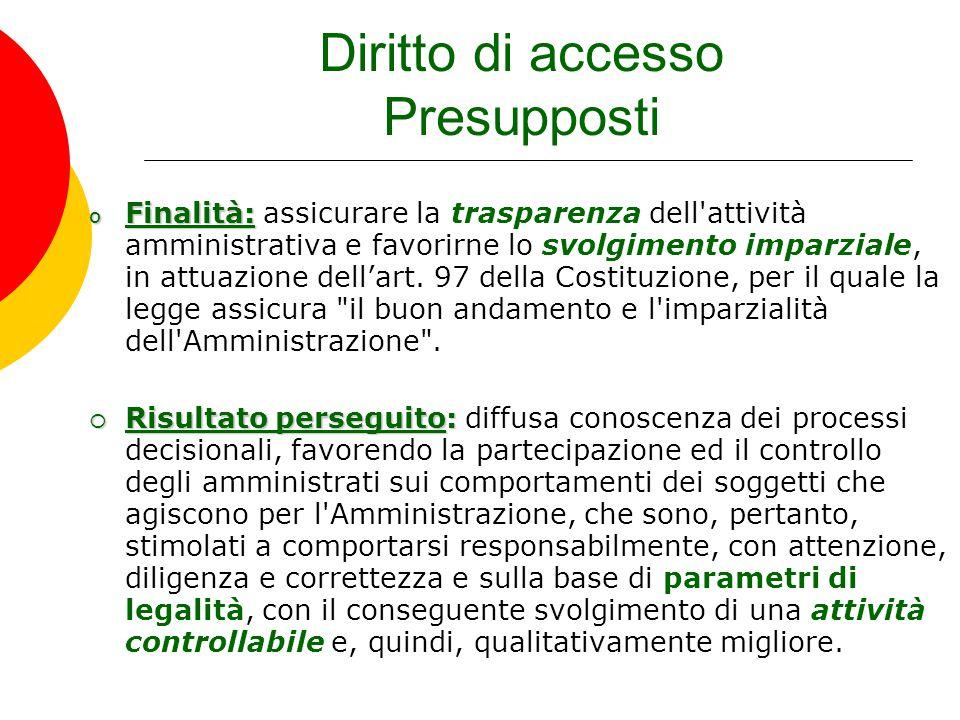 Diritto di accesso Presupposti