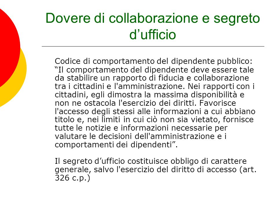 Dovere di collaborazione e segreto d'ufficio