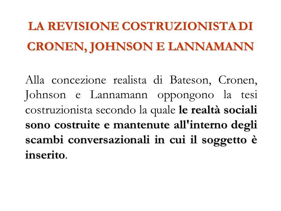 LA REVISIONE COSTRUZIONISTA DI CRONEN, JOHNSON E LANNAMANN