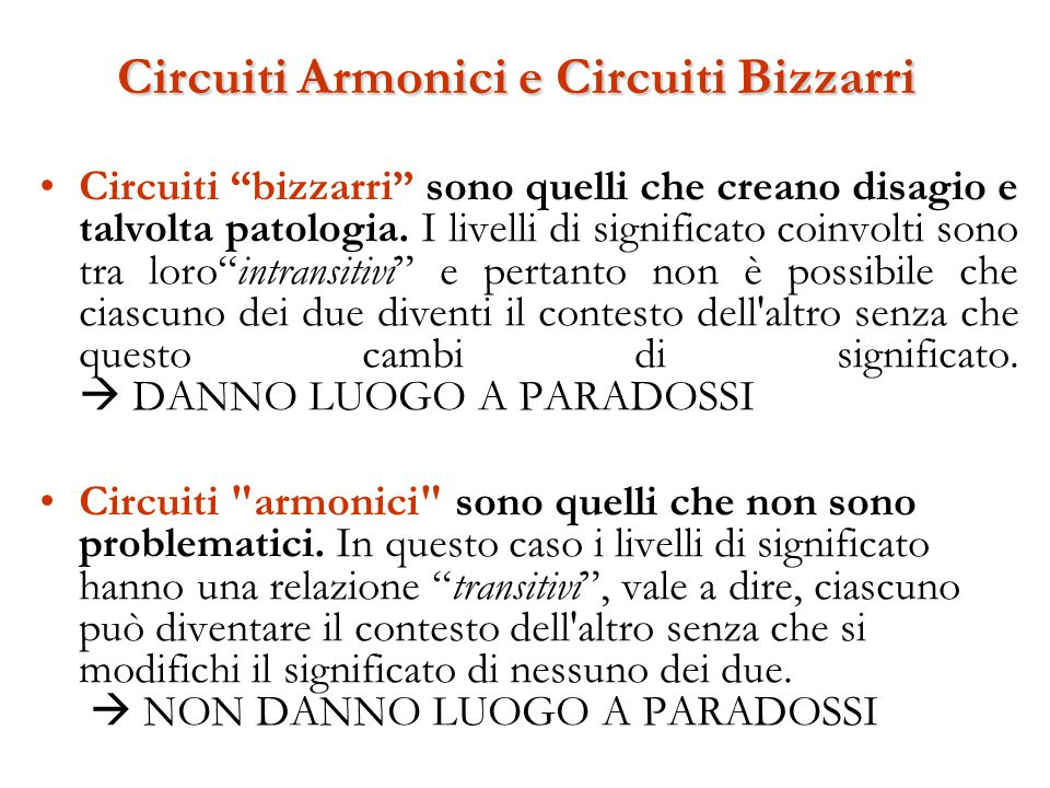 Circuiti Armonici e Circuiti Bizzarri