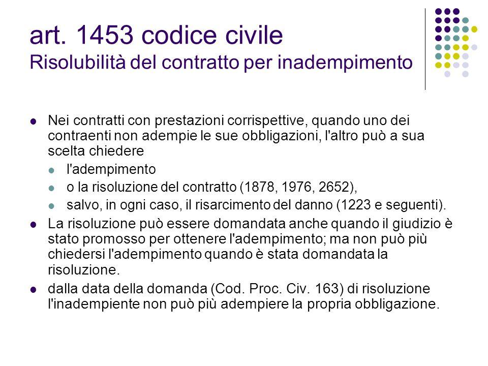 art. 1453 codice civile Risolubilità del contratto per inadempimento