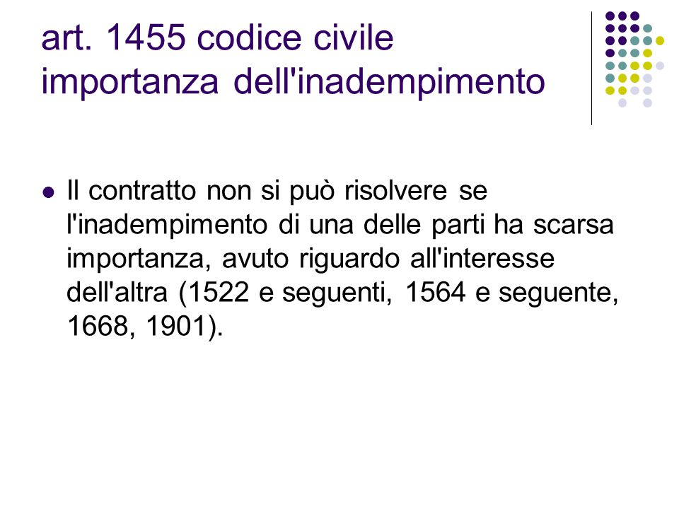 art. 1455 codice civile importanza dell inadempimento