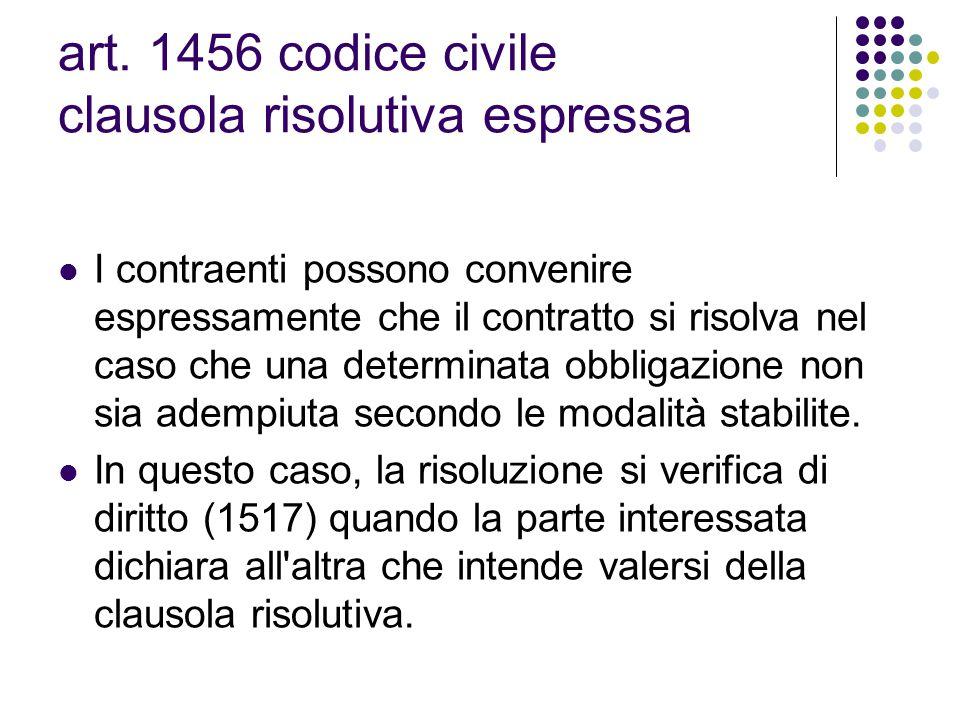 art. 1456 codice civile clausola risolutiva espressa