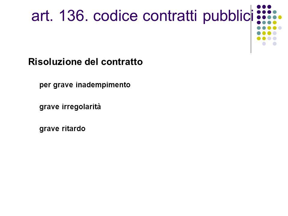 art. 136. codice contratti pubblici
