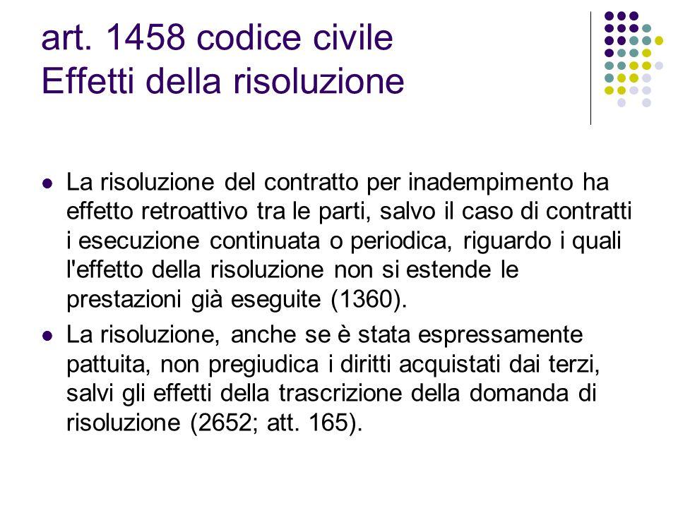 art. 1458 codice civile Effetti della risoluzione