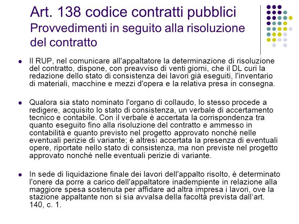 Art. 138 codice contratti pubblici Provvedimenti in seguito alla risoluzione del contratto