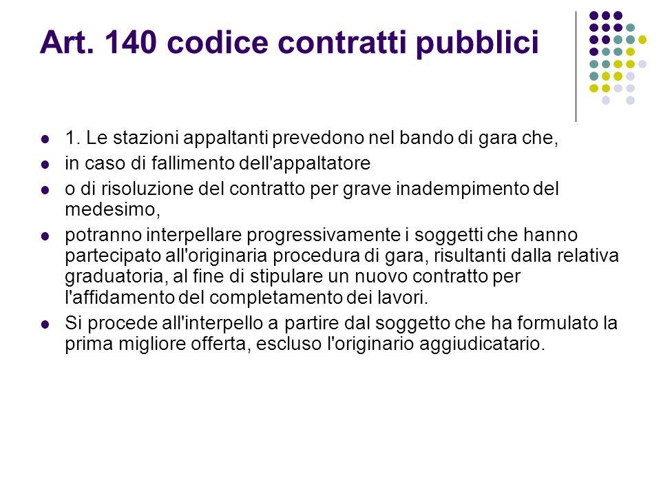 Art. 140 codice contratti pubblici