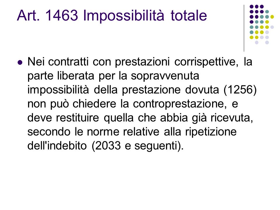 Art. 1463 Impossibilità totale