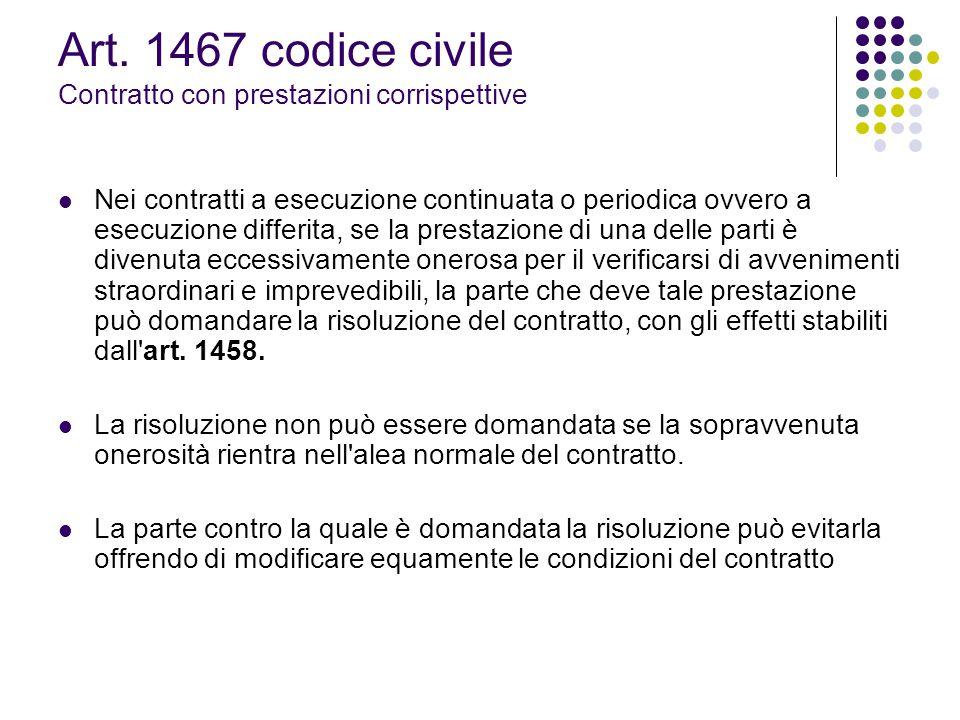 Art. 1467 codice civile Contratto con prestazioni corrispettive