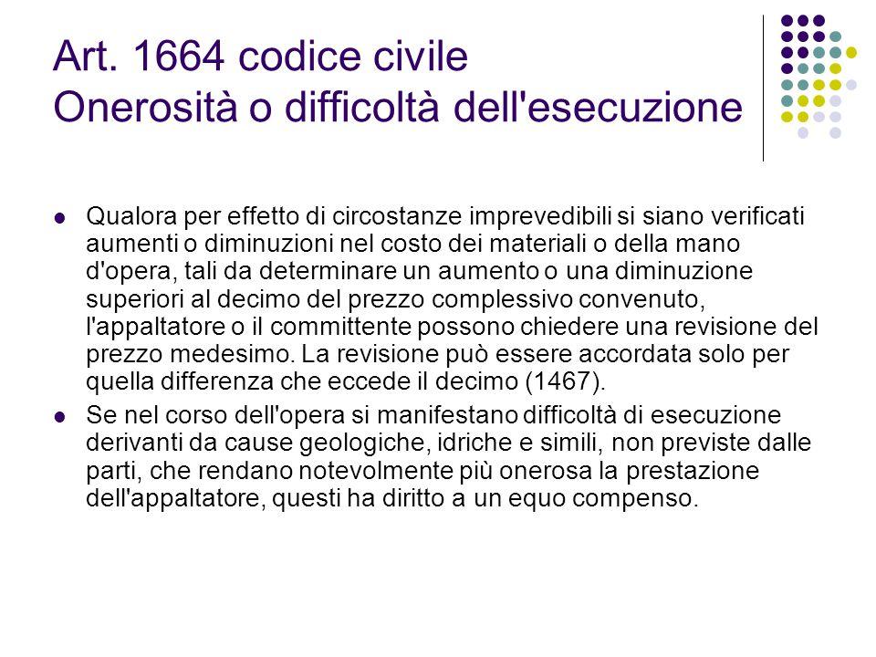 Art. 1664 codice civile Onerosità o difficoltà dell esecuzione