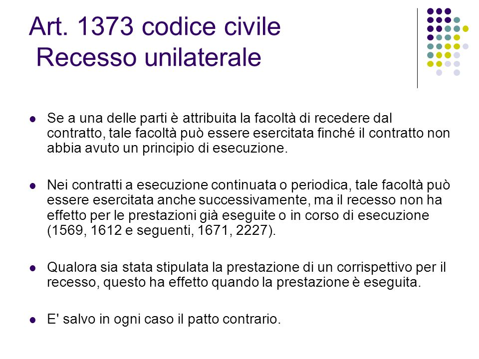 Art. 1373 codice civile Recesso unilaterale