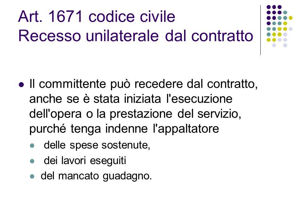 Art. 1671 codice civile Recesso unilaterale dal contratto