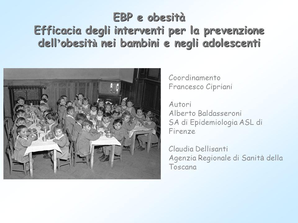 EBP e obesità Efficacia degli interventi per la prevenzione dell'obesità nei bambini e negli adolescenti.