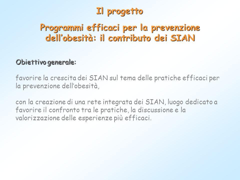 Il progetto Programmi efficaci per la prevenzione dell'obesità: il contributo dei SIAN.
